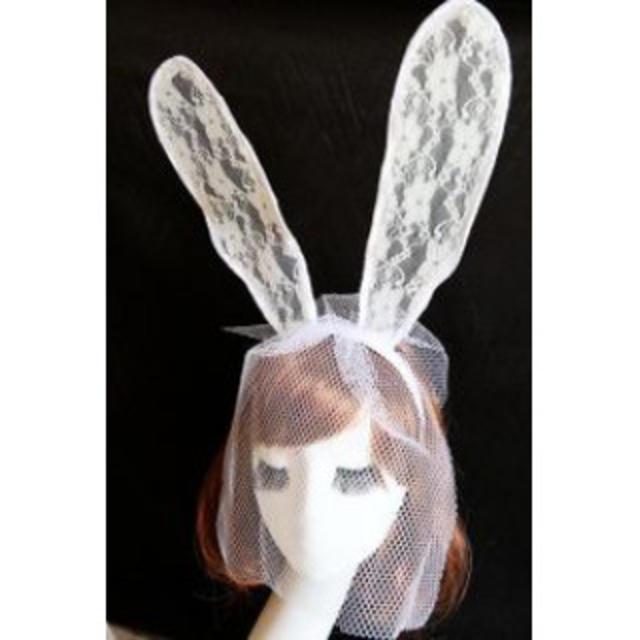 ★ホワイト☆バニーカチューシャ☆新品 レディースのヘアアクセサリー(カチューシャ)の商品写真