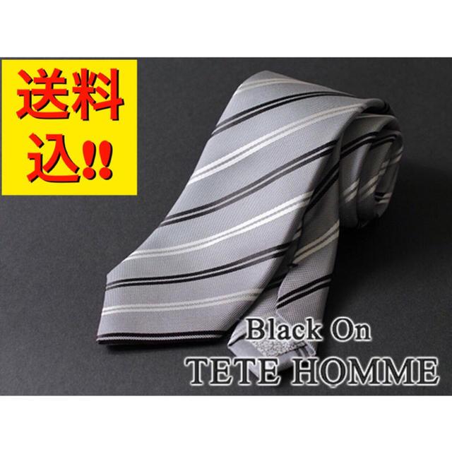 TETE HOMME(テットオム)の【新品/新作】ブラック オン テットオム【日本製】シルク絹100% ネクタイ メンズのファッション小物(ネクタイ)の商品写真