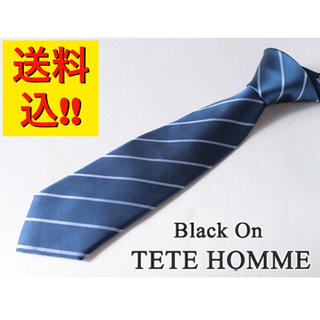 テットオム(TETE HOMME)の【新品/新作】ブラック オン テットオム【日本製】シルク絹100% ネクタイ(ネクタイ)