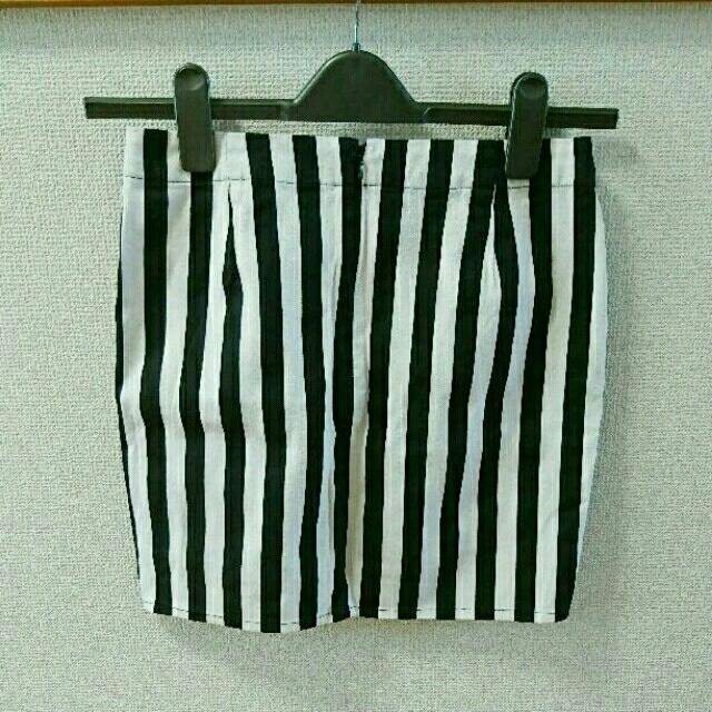 GU(ジーユー)のGU ストライプミニスカート 黒×白 レディースのスカート(ミニスカート)の商品写真