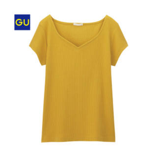 ジーユー(GU)のGU  リブハートネックT(Tシャツ(半袖/袖なし))