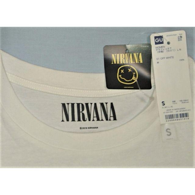 GU(ジーユー)の新品タグ付き☆GU☆ニルヴァーナ☆Sレディース☆ Tシャツ☆ホワイト レディースのトップス(Tシャツ(半袖/袖なし))の商品写真