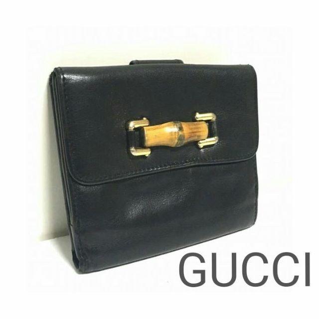 6977f84c24f4 Gucci(グッチ)の正規 GUCCI バンブーライン ウッド レザー 財布 黒 レディース メンズ レディース