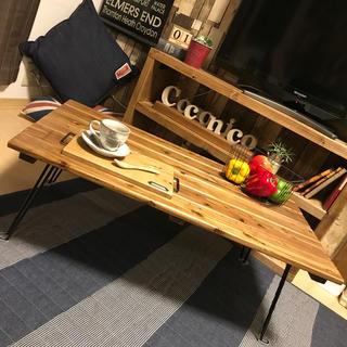 【国産天然杉使用】折りたたみブラック脚センターテーブル(ローテーブル)
