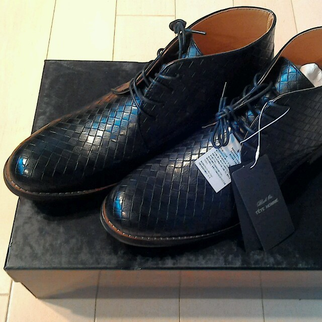 TETE HOMME(テットオム)の🔶テットオム🔶メッシュ柄ショートブーツ新品🔶size27🔶ブラック🔶 メンズの靴/シューズ(ブーツ)の商品写真