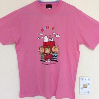 スヌーピー(SNOOPY)の新品タグ付き⭐︎SNOOPY Tシャツ ピンク Lサイズ(Tシャツ(半袖/袖なし))