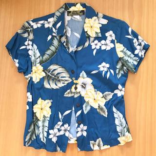 ハワイ製 TWO PALMS トゥーパームス アロハシャツ レーヨン 青 紺