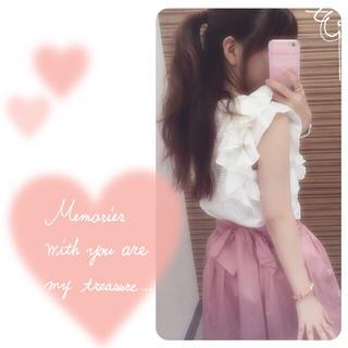 ニーナミュウ(Nina mew)のチュールつき大きめリボンスカート ピンク(ひざ丈スカート)