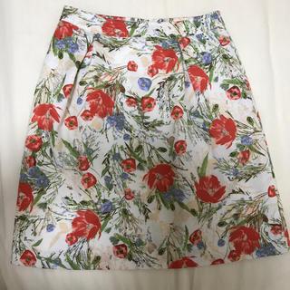ペルルペッシュ(Perle Peche)のペルルペッシュ ボタニカル花柄スカート(ひざ丈スカート)