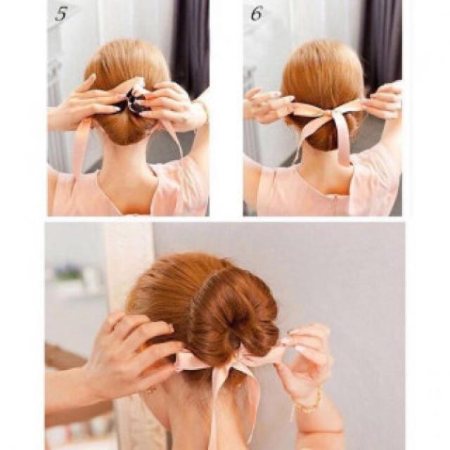 希少な2WAY ヘアアレンジ お団子 シニヨンリボン アレンジ ブラック レディースのヘアアクセサリー(ヘアゴム/シュシュ)の商品写真