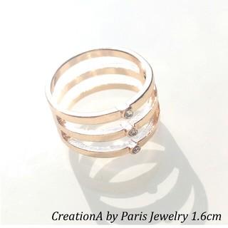 パリ購入 新品ゴールドクリアリング 約10号 同国発祥CHANEL好きへ(リング(指輪))