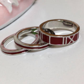 3個セット クールなナンバーリング 赤(リング(指輪))