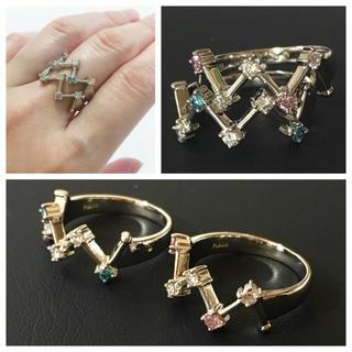 織姫と彦星のよう…☆天然ピンクダイヤモンド&ブルーダイヤ PTリング 2本セット(リング(指輪))