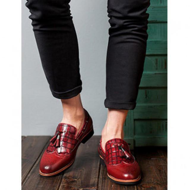 メンズビジネスシューズ PUレザー レッド メンズの靴/シューズ(ドレス/ビジネス)の商品写真