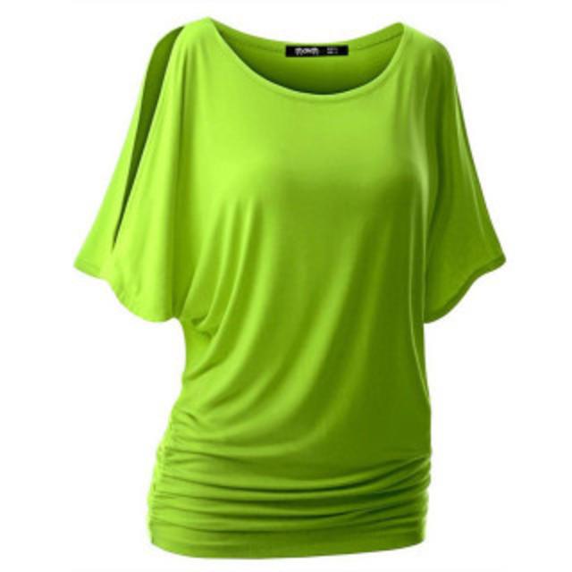 トップス ラウンドネック 無地 カジュアル 【M ライトグリーン】 レディースのトップス(Tシャツ(半袖/袖なし))の商品写真