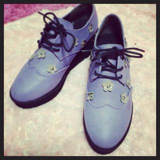 ディップドロップス(Dip Drops)の花柄パープルシューズ(レインブーツ/長靴)