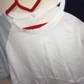 ミックスエックスミックス(mixxmix)のミクス◯ラグラン半袖Tシャツ 水色×白(Tシャツ(半袖/袖なし))
