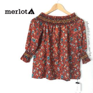 メルロー(merlot)のメルロー 2wayボタニカルオフショルダートップス *オレンジ(シャツ/ブラウス(半袖/袖なし))