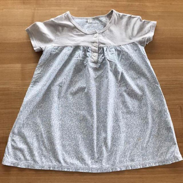 MUJI (無印良品)(ムジルシリョウヒン)のチュニック 無印 120 花柄 キッズ/ベビー/マタニティのキッズ服 女の子用(90cm~)(Tシャツ/カットソー)の商品写真