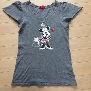 アンプリュスアン(un plus un)のミニー Tシャツ ディズニー グレー un plus un フリル 限定 コラボ(Tシャツ(半袖/袖なし))