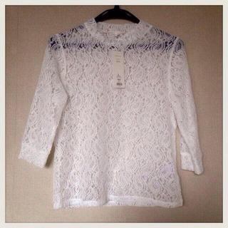ジーユー(GU)のハイネックT*レース(Tシャツ(長袖/七分))