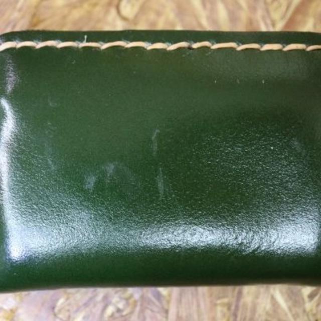 本革 牛革 レザー コインケース 【グリーン】 ウォレット 財布 小銭入れ ハンドメイドのファッション小物(財布)の商品写真
