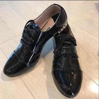 ミュウミュウ(miumiu)の未使用新品 Miu Miu レースアップシューズ size34 1/2(ローファー/革靴)