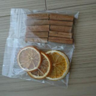 2 ドライフラワー オレンジ シナモンスティック 花材 ハンドメイド ドライ(ドライフラワー)