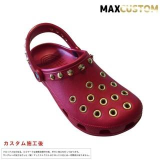 クロックス(crocs)のクロックス crocs パンクカスタム 純金メッキ加工 赤 22~28cm 新品(サンダル)