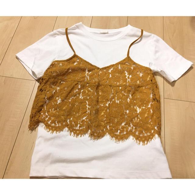 GU(ジーユー)のビスチェレイヤードTシャツ GU イエロー レディースのトップス(Tシャツ(半袖/袖なし))の商品写真