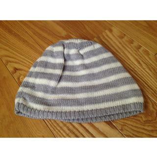 ボーダーニット帽  グレー(ニット帽/ビーニー)