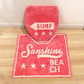 シマムラ(しまむら)の新品 送料無料 サーフ スター トイレマット セット SURF ピンク しまむら(トイレマット)