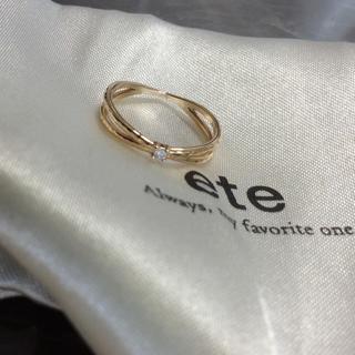 エテ(ete)のeteダイヤピンキーリング K10現行品(リング(指輪))