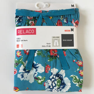 ユニクロ(UNIQLO)の✨新品✨UNIQLO リラコ エピス 花模様 グリーン(ブルー) M (ルームウェア)