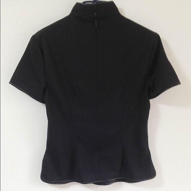 【未使用】チャイナ風 黒トップス レディースのトップス(シャツ/ブラウス(半袖/袖なし))の商品写真