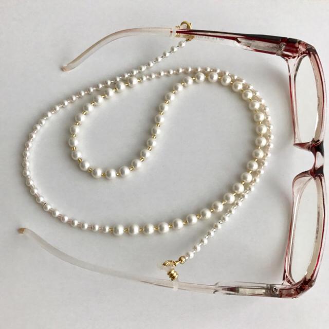 2way♡   ホワイトパールの メガネチェーン ハンドメイドのファッション小物(その他)の商品写真
