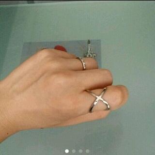 クロスリング☆シルバー色 クロス リング 指輪(リング(指輪))