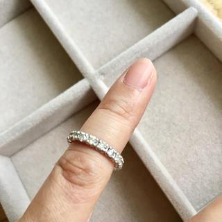 【値下再出品】1ctプラチナ ダイヤモンドリング フルエタニティーピンキーリング(リング(指輪))