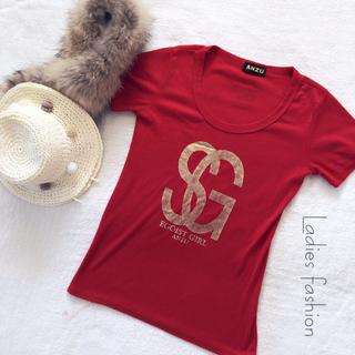 アンズ(ANZU)のANZU❤️トップス、赤*レッド、半袖、(Tシャツ(半袖/袖なし))