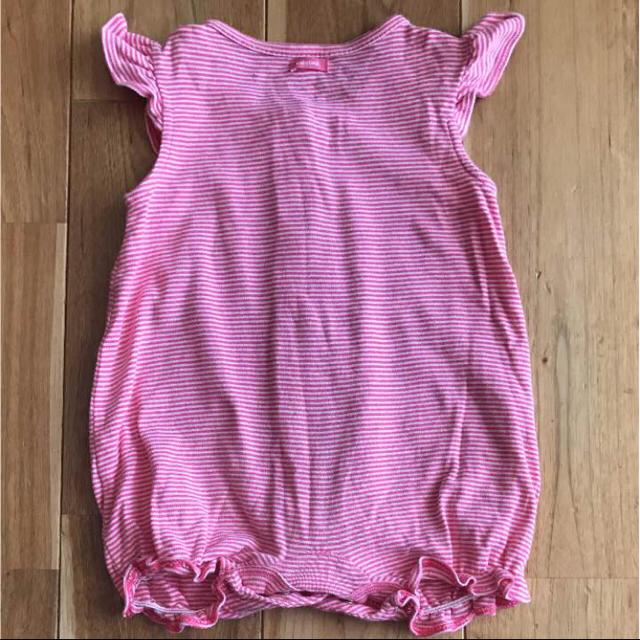 babyGAP(ベビーギャップ)の【美品】60babygap レッドボーダーフリルロンパース キッズ/ベビー/マタニティのベビー服(~85cm)(ロンパース)の商品写真