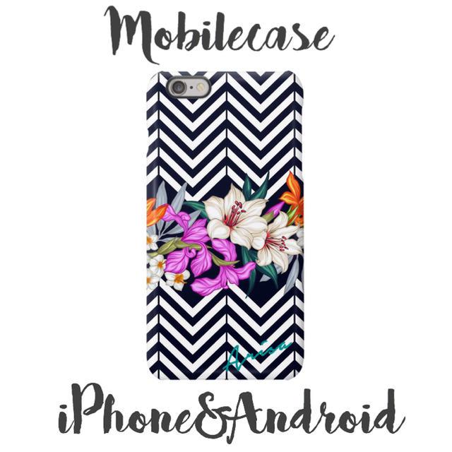 ミュウミュウ iphone8 ケース 人気 | 名入れ可能♡モノトーントロピカル柄スマホケース♡iPhone以外も対応機種多数♡の通販 by welina mahalo|ラクマ