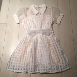 リズリサ(LIZ LISA)のリズリサ 今期商品 ハート衿つきワンピース ピンク(ミニワンピース)