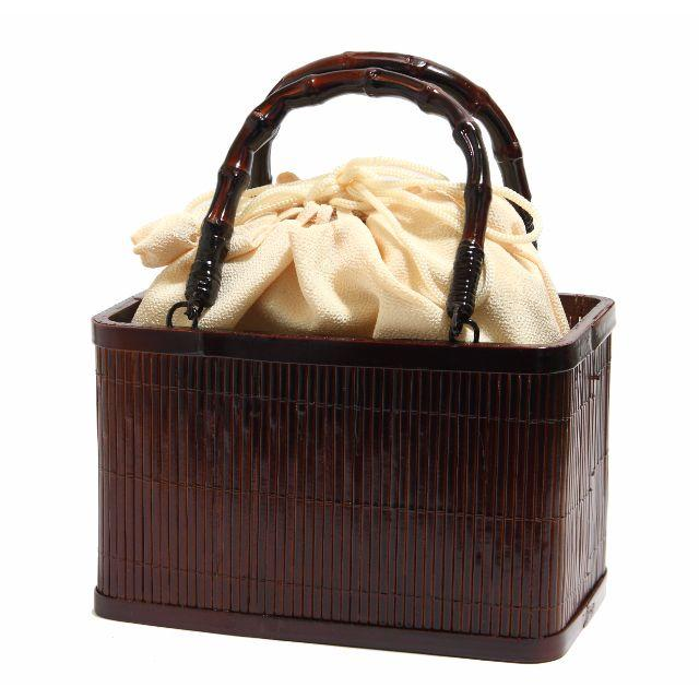 浴衣  巾着 竹かご バッグ 無地生成色 巾着取り外し可能 赤茶 角型 レディースの水着/浴衣(和装小物)の商品写真