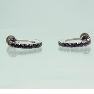 K18WG ブラックダイヤモンド イヤリング[713-8](イヤリング)
