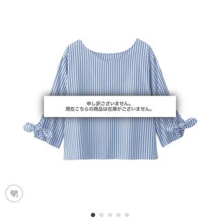 ジーユー(GU)のGU☆ストライプリボンスリーブブラウス(シャツ/ブラウス(半袖/袖なし))
