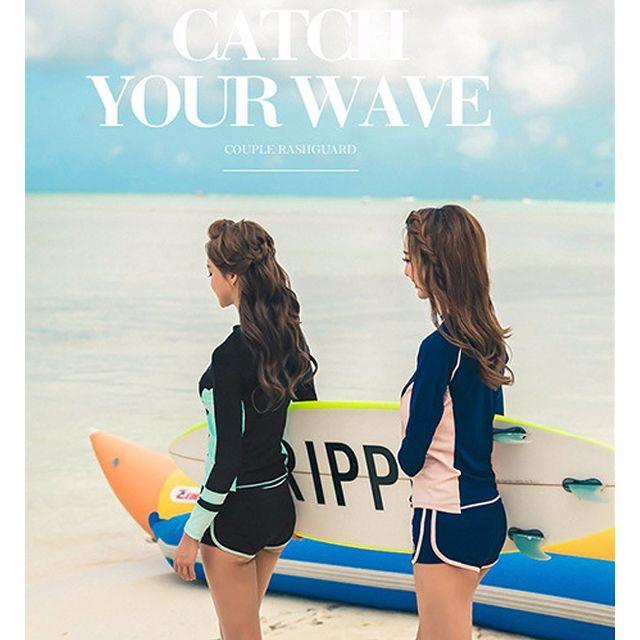 レディース 水着 ラッシュガード 2点セット M~XL ブルー レディースの水着/浴衣(水着)の商品写真