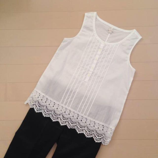 GAP(ギャップ)のGAP♡裾レース ノースリーブブラウス レディースのトップス(シャツ/ブラウス(半袖/袖なし))の商品写真