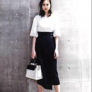エムプルミエ(M-premier)のOggi6月号掲載 BLENHEIM ベルト付きラップスカートXS 新品(ひざ丈スカート)