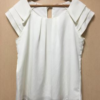 マーキュリーデュオ(MERCURYDUO)のマーキュリーデュオ☆美品! シフォン トップス カットソー 半袖 ホワイト M(Tシャツ/カットソー(半袖/袖なし))