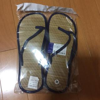 新品未使用 畳サンダル 紺 M 和風 エスニック アジアンナチュラルい草24.5(サンダル)